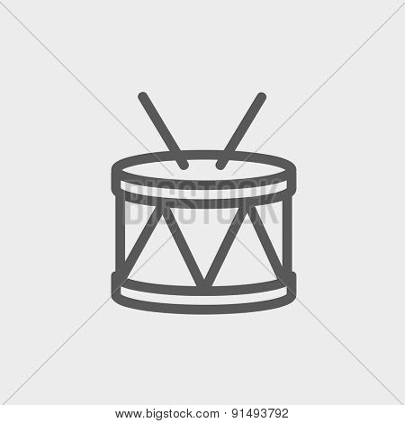 Drum with stick icon thin line for web and mobile, modern minimalistic flat design. Vector dark grey icon on light grey background.