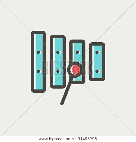 Xylophone with mallets icon thin line for web and mobile, modern minimalistic flat design. Vector icon with dark grey outline and offset colour on light grey background.