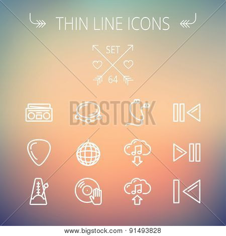 Music and entertainment thin line icon set for web and mobile. Set includes-metronome, guitar pick, upload and download, earphone, disco ball, cassette player, music button icons. Modern minimalistic