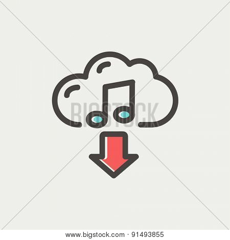Music downloading icon thin line for web and mobile, modern minimalistic flat design. Vector icon with dark grey outline and offset colour on light grey background.