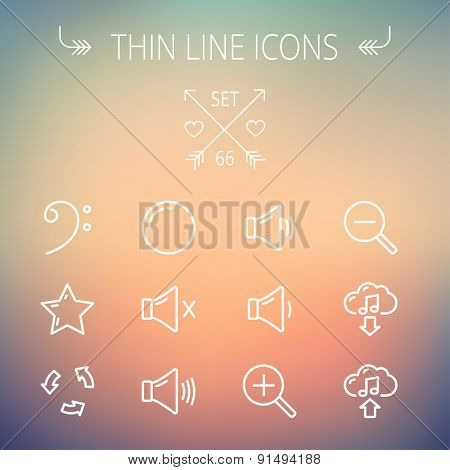 Music and entertainment thin line icon set for web and mobile. Set includes- C-clef, star, replay, stop, volume speaker  icons. Modern minimalistic flat design. Vector white icon on gradient mesh
