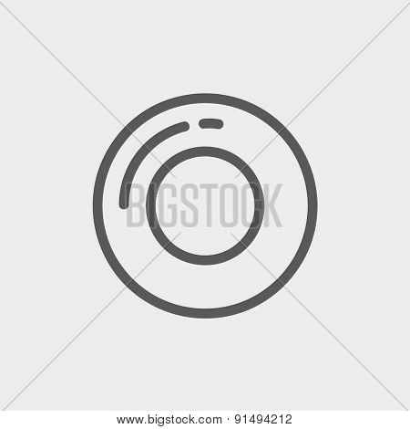 Record button icon thin line for web and mobile, modern minimalistic flat design. Vector dark grey icon on light grey background.
