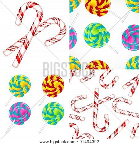Delicious lollipop vector set