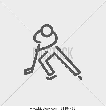 Moving hockey player icon thin line for web and mobile, modern minimalistic flat design. Vector dark grey icon on light grey background.