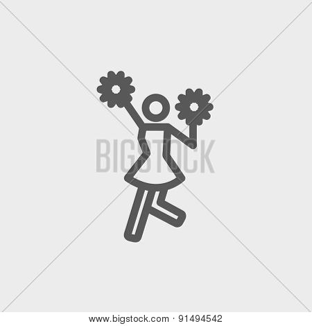 Cheerleader with pom icon thin line for web and mobile, modern minimalistic flat design. Vector dark grey icon on light grey background.