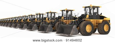 Wheel Loaders Parked In A Row