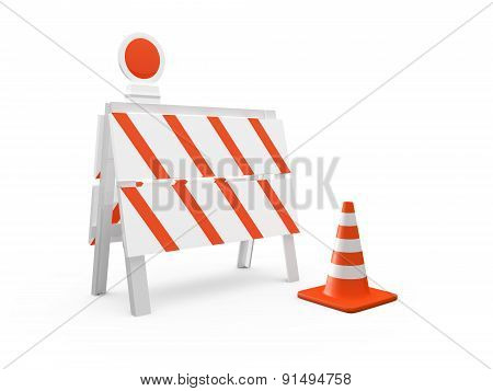 Road Barrier And Traffic Cone