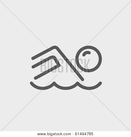Beach wave icon thin line for web and mobile, modern minimalistic flat design. Vector dark grey icon on light grey background.