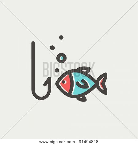 Fish is looking on a fish hook icon thin line for web and mobile, modern minimalistic flat design. Vector icon with dark grey outline and offset colour on light grey background.