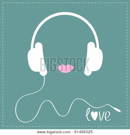 White Headphones With Cord. Pink Lips Love Music Card. Flat Design