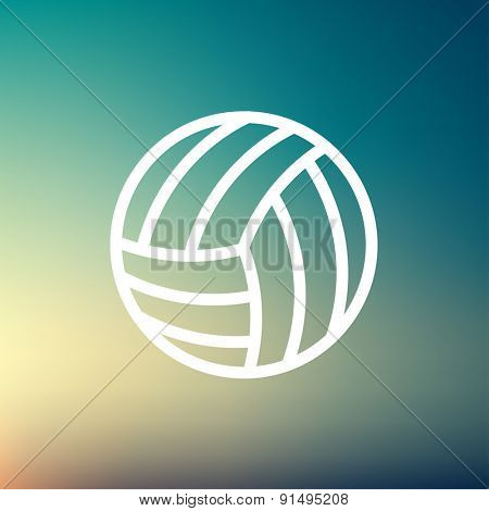 Volleyball ball icon thin line for web and mobile, modern minimalistic flat design. Vector white icon on gradient mesh background.