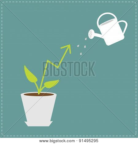 Diagram Arrow Plant In The Pot And Watering Can. Financial Growth Concept. Flat Design Business Vect