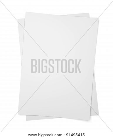 Two Paper Sheets On White