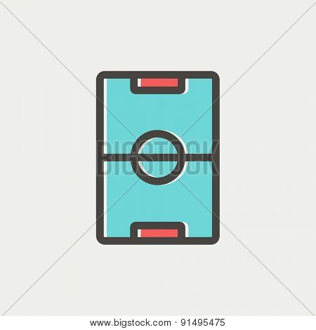 Soccer field icon thin line for web and mobile, modern minimalistic flat design. Vector icon with dark grey outline and offset colour on light grey background.