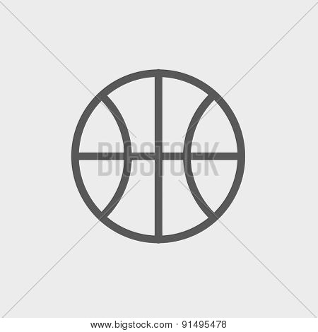 Basketball ball icon thin line for web and mobile, modern minimalistic flat design. Vector dark grey icon on light grey background.