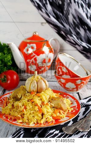 Rice Pilaf With Meat And Vegetables