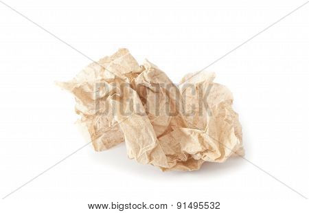 Crumpled Tissue Paper Texture On A White Background