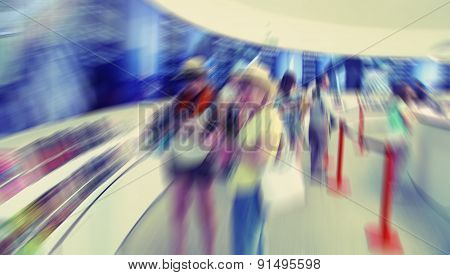 Abstract Background. Barcelona. Tourist Information Centre. Radial Zoom Blur Effect Defocusing Filte