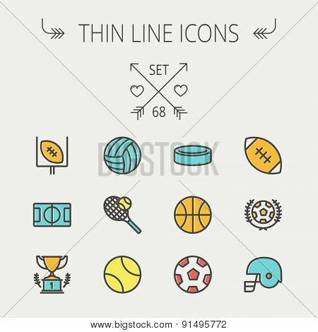 Sports thin line icon set for web and mobile. Set includes - volleyball, basketball, hockey puck, tennis, soccer, football, trophy, helmet  icons. Modern minimalistic flat design. Vector icon with