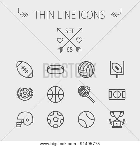 Sports thin line icon set for web and mobile. Set includes- volleyball, basketball, hockey puck, tennis, soccer, football, trophy, helmet icons. Modern minimalistic flat design. Vector dark grey icon