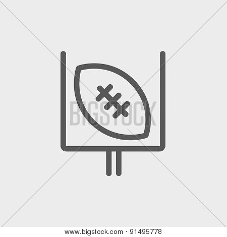 Football poster icon thin line for web and mobile, modern minimalistic flat design. Vector dark grey icon on light grey background.