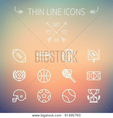 Sports thin line icon set for web and mobile. Set includes- volleyball, basketball, hockey puck, ten