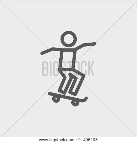 Man skateboarding icon thin line for web and mobile, modern minimalistic flat design. Vector dark grey icon on light grey background.