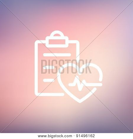 Heartbeat record icon thin line for web and mobile, modern minimalistic flat design. Vector white icon on gradient mesh background.
