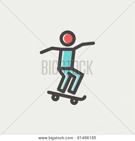 Man skateboarding icon thin line for web and mobile, modern minimalistic flat design. Vector icon with dark grey outline and offset colour on light grey background.