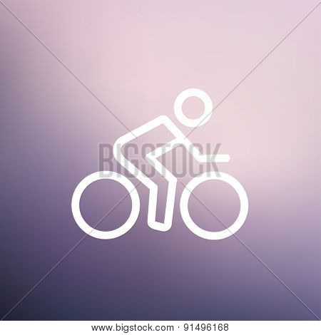 Sport bike and rider icon thin line for web and mobile, modern minimalistic flat design. Vector white icon on gradient mesh background.