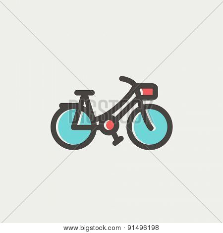 Vintage bicycle icon thin line for web and mobile, modern minimalistic flat design. Vector icon with dark grey outline and offset colour on light grey background.