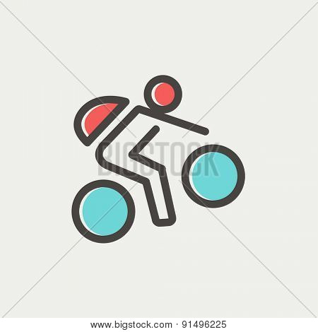 Mountain bike rider icon thin line for web and mobile, modern minimalistic flat design. Vector icon with dark grey outline and offset colour on light grey background.
