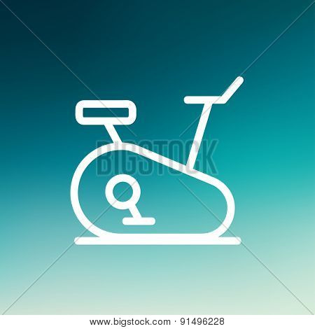 Fitness cycling icon thin line for web and mobile, modern minimalistic flat design. Vector white icon on gradient mesh background.
