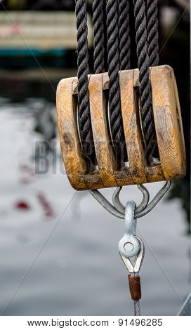 Triple Block On An Old Sailboat