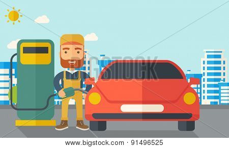 A happy hipster gasoline boy filling up fuel into the car. A Contemporary style with pastel palette, soft blue tinted background with desaturated clouds. Vector flat design illustration. Horizontal