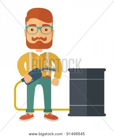 A caucasian businessman standing beside the barrel with pump. A Contemporary style. Vector flat design illustration isolated white background. Square layout