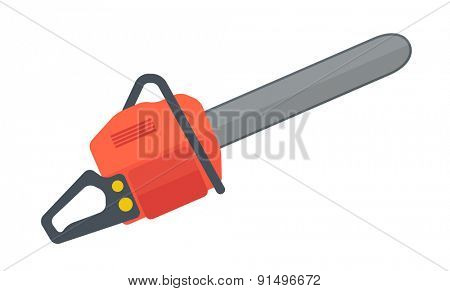 A heavy duty chainsaw used to cut, trim trees and firewood. A Contemporary style. Vector flat design illustration isolated white background. Horizontal layout.