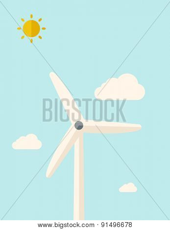 One windmill standing under the heat of the sun. A Contemporary style with pastel palette, soft blue tinted background with desaturated clouds. Vector flat design illustration. Vertical layout.