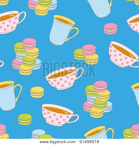 Colorful Macaroon Cookies And Teacup seamless Pattern.