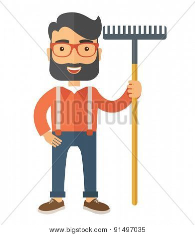 A caucasian man standing holding a rake ready for gardening. A Contemporary style. Vector flat design illustration isolated white background. Vertical layout.