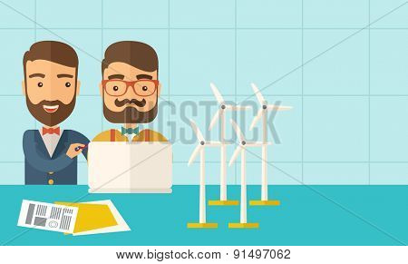 A two caucasian workers using laptop with windmills as power generator.  A Contemporary style with pastel palette, soft blue tinted background. Vector flat design illustration. Horizontal layout with