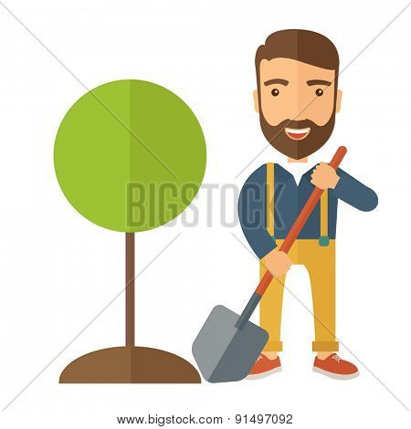 A happy gardener planting a tree in his yard using shovel. A Contemporary style. Vector flat design illustration isolated white background. Square layout.