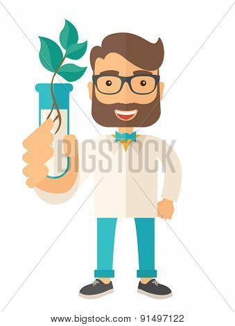 A chemist holding a test tube with eco leaves. A Contemporary style. Vector flat design illustration isolated white background. Vertical layout