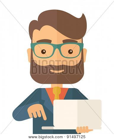 A successful man holding a laptop. A man with laptop. A Contemporary style. Vector flat design illustration isolated white background. Square layout.