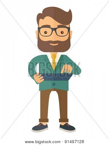 A mid adult male engineer holding a blueprint. A Contemporary style. Vector flat design illustration isolated white background. Vertical layout.