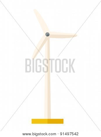 One windmill a energy resources. A Contemporary style. Vector flat design illustration isolated white background. Vertical layout