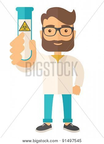 A young Scientists experimenting with glass tube. A Contemporary style. Vector flat design illustration isolated white background. Vertical layout