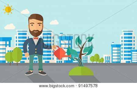A man watering the growing plant as improving economy. A Contemporary style with pastel palette, soft blue tinted background with desaturated clouds. Vector flat design illustration. Horizontal layout
