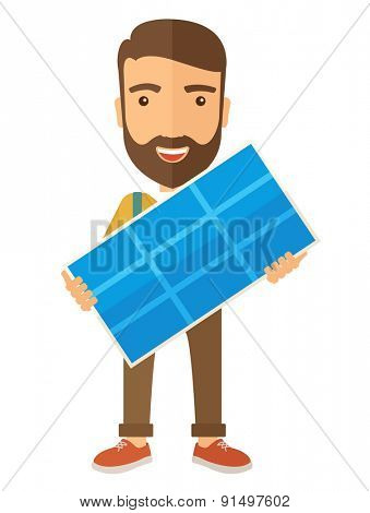 A happy young man standing while holding a solar panel. A Contemporary style. Vector flat design illustration isolated white background. Vertical layout
