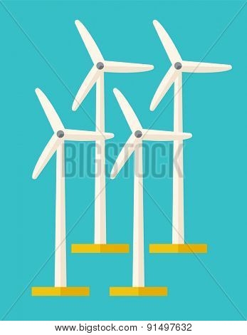 A set of four windmills. A Contemporary style with pastel palette, soft blue tinted background. Vector flat design illustration. Vertical layout.